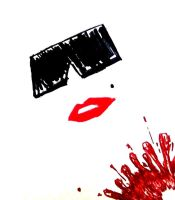 Untitled Sketch (blood and lipstick) by Esrever-Ni-Tra