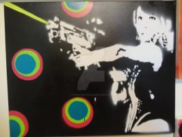 Laser Girl Stencil by firestarter91