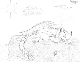 (HTTYD) Toothless Chillaxing (Sketched) by goldenafro