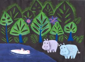Mary Blair style Hippo Jungle by JMKohrs