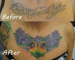 Lovebirds and Orchids chest cover by joshing88