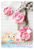 Kawaii Pink Lollipop Necklaces by TangerineTaiyaki