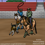 Kasey-HARA SVR Team Roping with Haiwood by painted-cowgirl