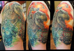 Jurassic lego half sleeve by Sean Ambrose by seanspoison