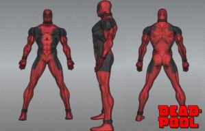 Deadpool 3D Model Sketch by deusxmachina