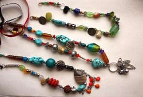 Beaded necklaces (ancient style) Stock 1 by lucindeh