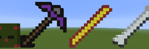 Pestified zombie, zanite pickaxe, blaze rod, bone. by Votre-texte-ici