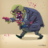 Corporate Zombie: Old Man by plaidklaus