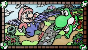 Yoshi and Mario-style of stained glass by ucchon