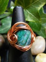 chrysocola in copper ring by BacktoEarthCreations