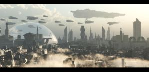 futuristic city by binouse49