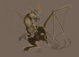 Jersey Devil paintingstage1WIP by Bee-chan