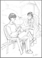 At the Caferetia: Chris and Sonia - for Ryyu-kun by Madda-Sketches