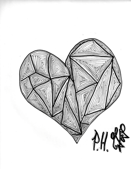 another heart drawn in class by clemmyninjastar32
