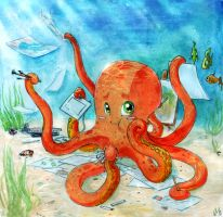 Octopus and art by Kler-z