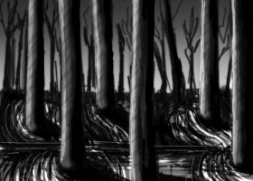 Spooky Forest Doodle by arcanineryu