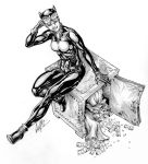 ink wash catwoman pinup by andrecoelhoart