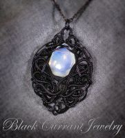 Syntetic Moonstone and Black Wire by blackcurrantjewelry
