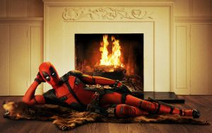 Deadpool at fireplace by KateWindhelm