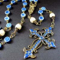 Blue Ceramic and Pearl Rosary by Gilliauna