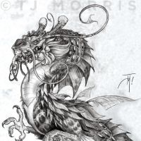 Eastland Marine Dragon pencil WIP by elasticdragon