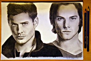 Dean and Sam Winchester by ThresaDory