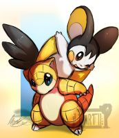 Sandshrew and Emolga by Tartii