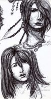 Lulu and Yuna FFX pen sketch by HoshisamaValmor