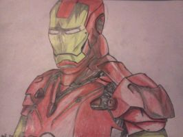 IRON MAN (PENICL DRAWING WITH CRAYON COLORS) by LukeInstone-Hall