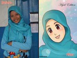 Anime Hijab Edition Before and After by dicky10official