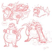 Godzilla sketches by JonDavidGuerra
