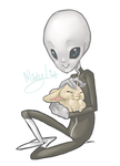 Alien petting a bunny by Minty-Lint