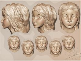 3d modeling WIP : faces and expressions by Vilva