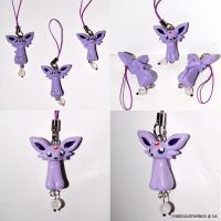 New Espeon Dangly Charm by ChibiSilverWings