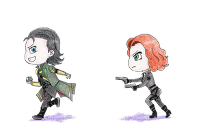 Chibi: Black Widow chasing Loki by Lola22