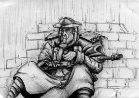 Imperial Guard Tommy in Rain by StugMeister