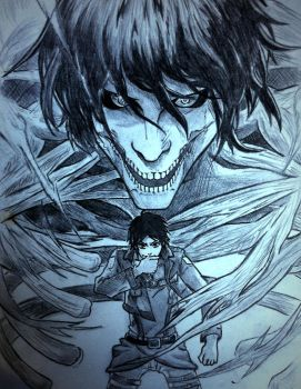 Eren to Titan by greataiden1