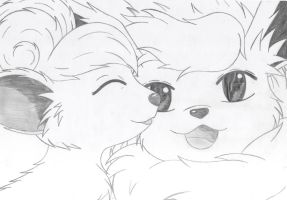 A cute vulpix and a very happy flareon by katebushfanatic