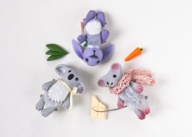 happy koala, mouse and lilac bunny by freedragonfly