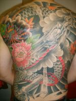freehand dragon back by SimplyTattoo