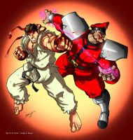 Ryu vs. M. Bison by sergio-borges