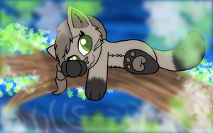 Art Trade: Relaxing by the Pond by FaithLeafCat