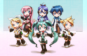 Vocaloid Chibi Group by ghostfire