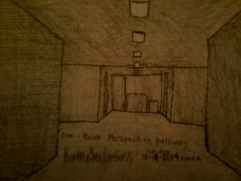 A Regular Hallway In One-Point Perspective by TheSkull31