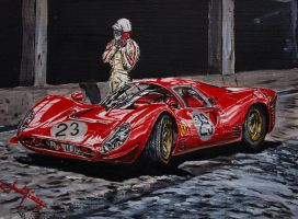 Lorenzo Bandini and the Ferrari 330 p4 by JuanCMendez