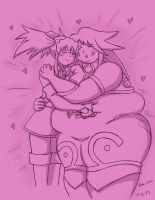 Presea hugging a fatty Genis by Oda-Lee