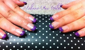 Purple Glitter Nails by hugmemel