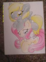 Derpy and Fluttershy by Darkhorse888
