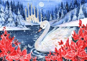 "ACEO ""Swan e Poinsettias"" by JoannaBromley"