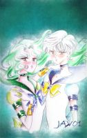 sailor Uranus and sailor Neptune by zelldinchit
